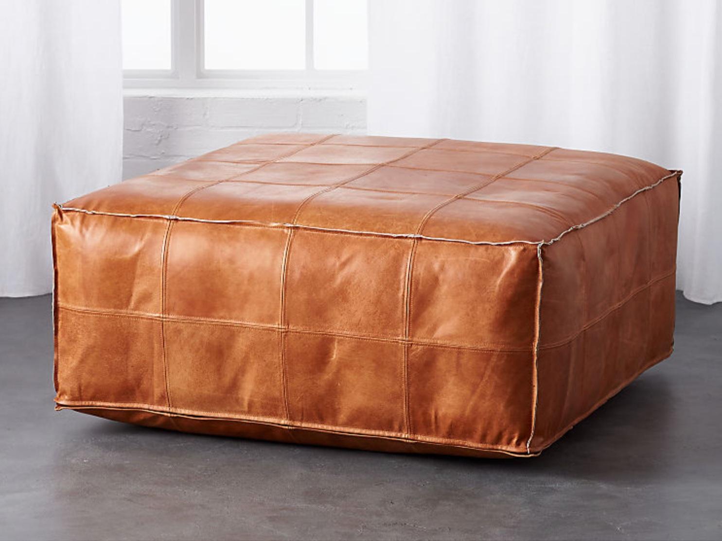 "leather pouf - Leather 36"" ottoman, $549; CB2"