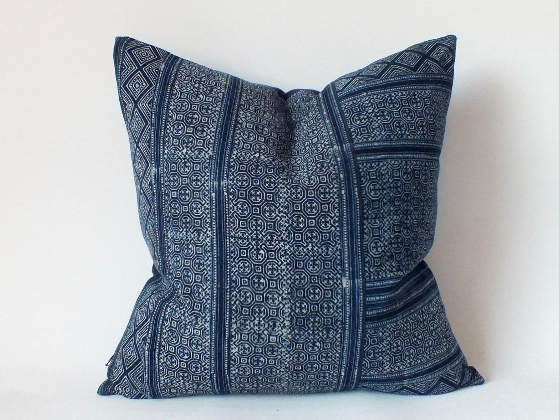 Mudcloth PIllow - Batik navy throw pillow, $18; Etsy