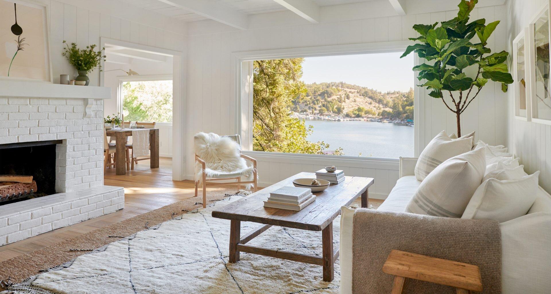 Jenni Kayne Lake House - Living Room with Views of Lake Arrowhead