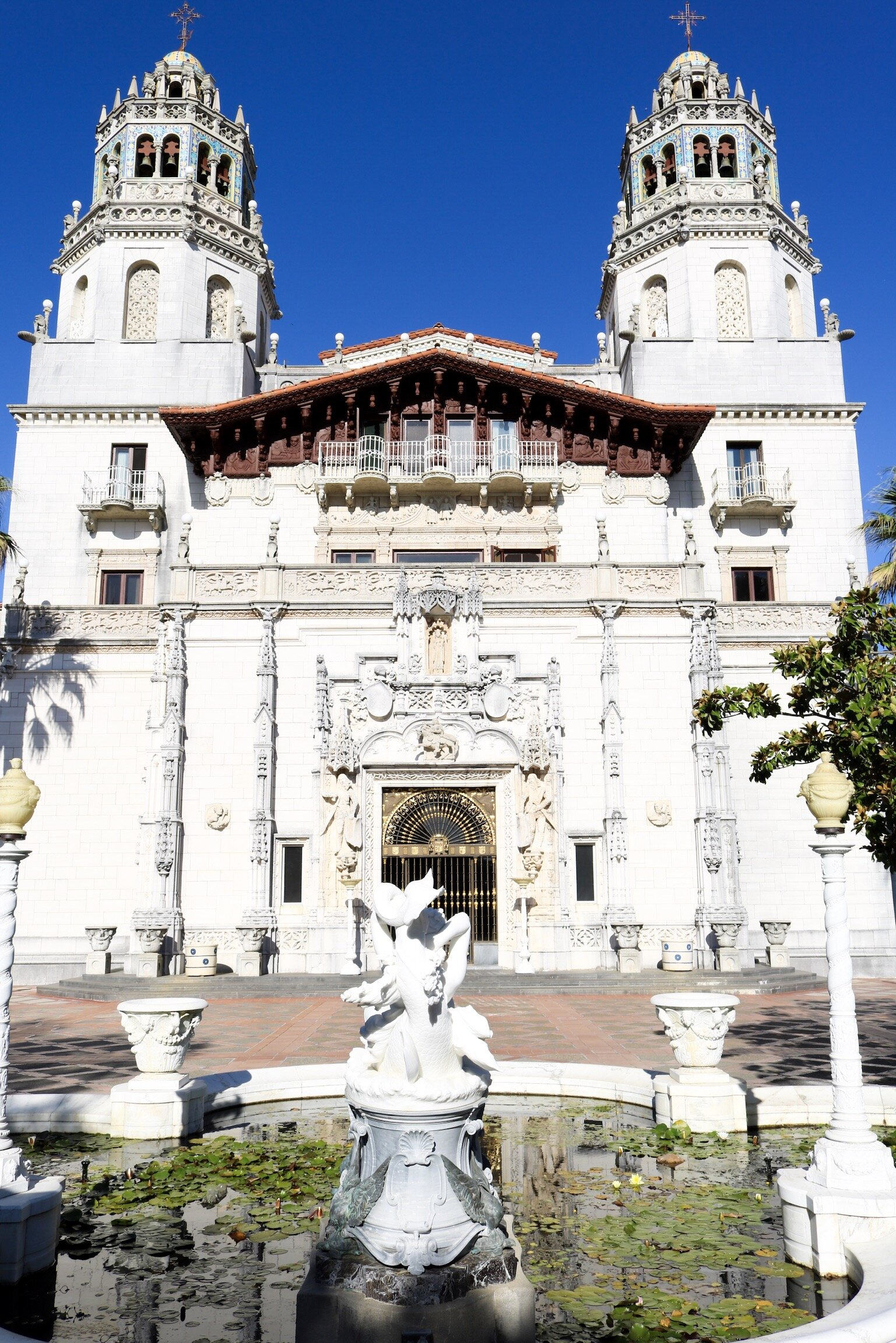 Grand building at Hearst Castle in San Simeon, California