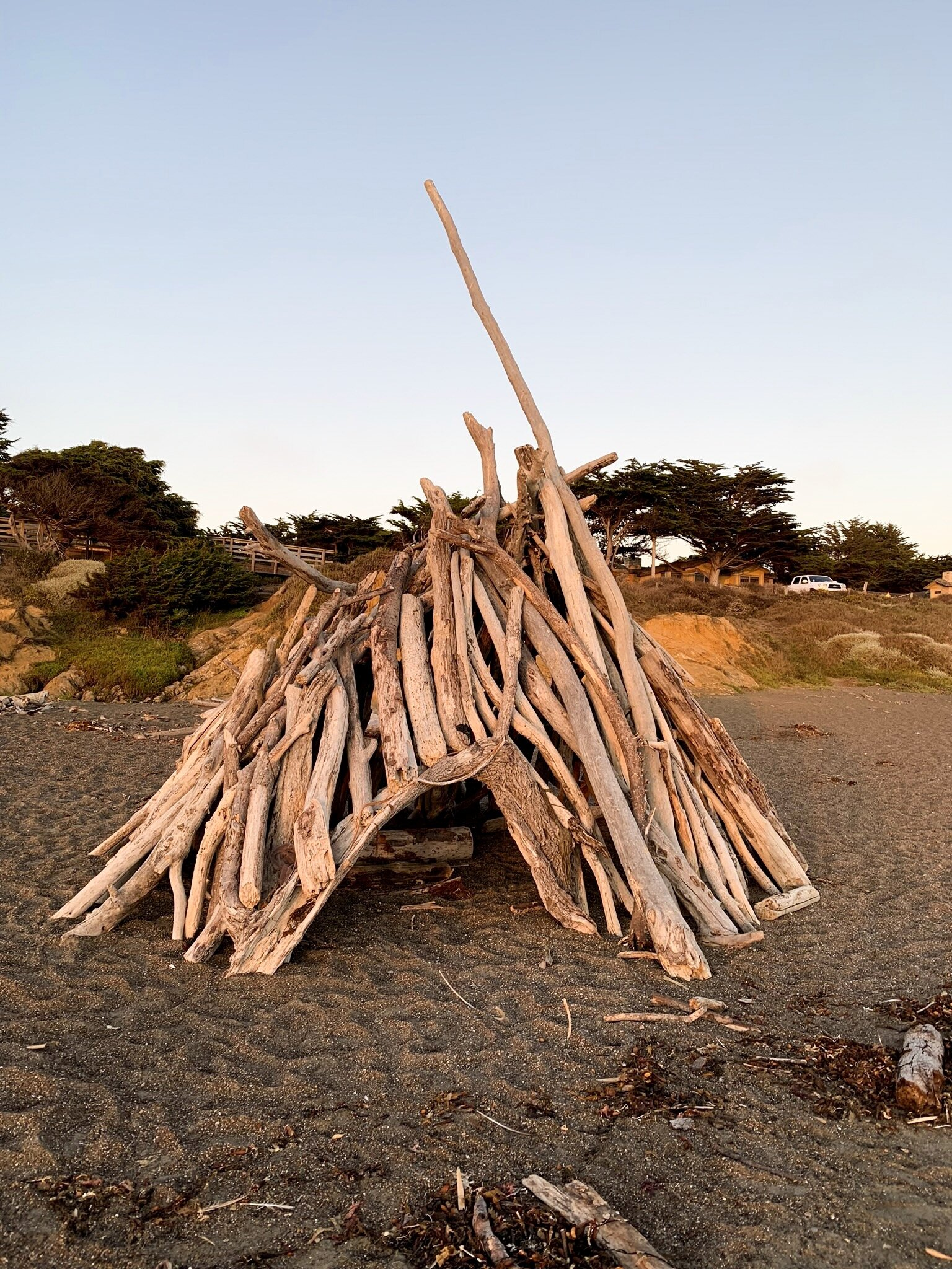Moonstone Beach driftwood structure at sunset golden hour.