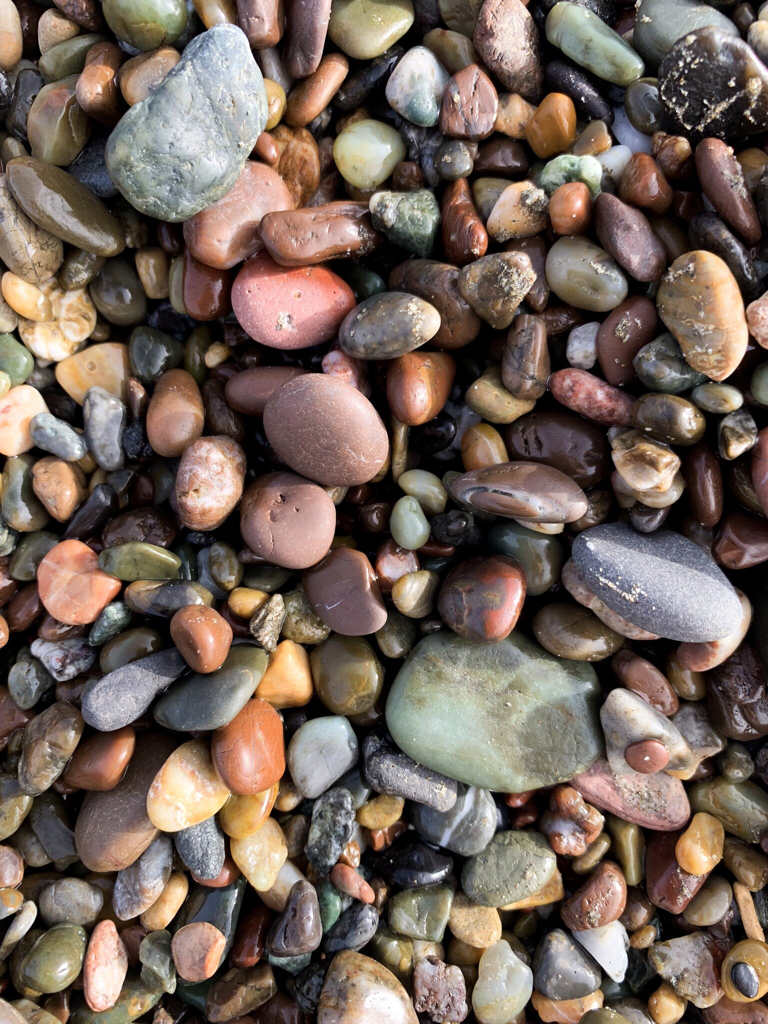 Moonstone Beach tumbled rocks and stones – moonstones, jade, jasper, and more.