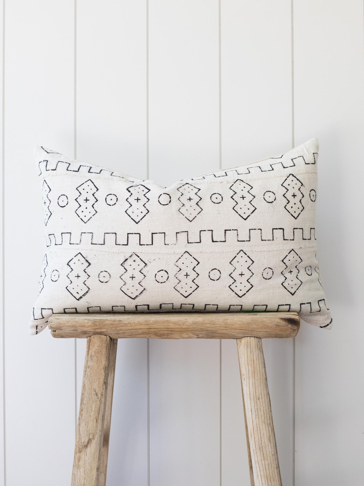 Block Print Mudcloth Lumbar Pillow from The Vintage Rug Shop