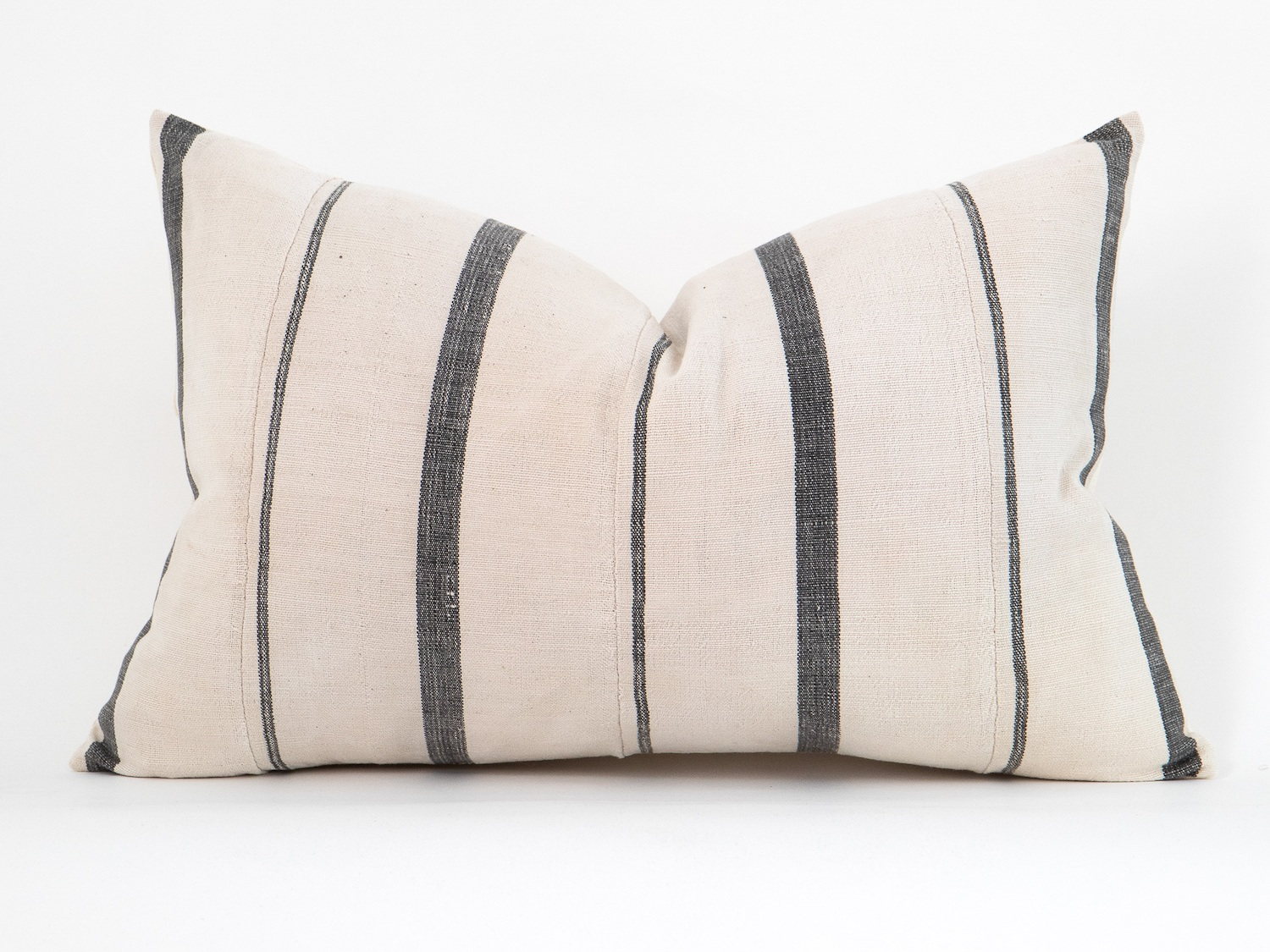 Charcoal Striped Lumbar Pillow from The Vintage Rug Shop