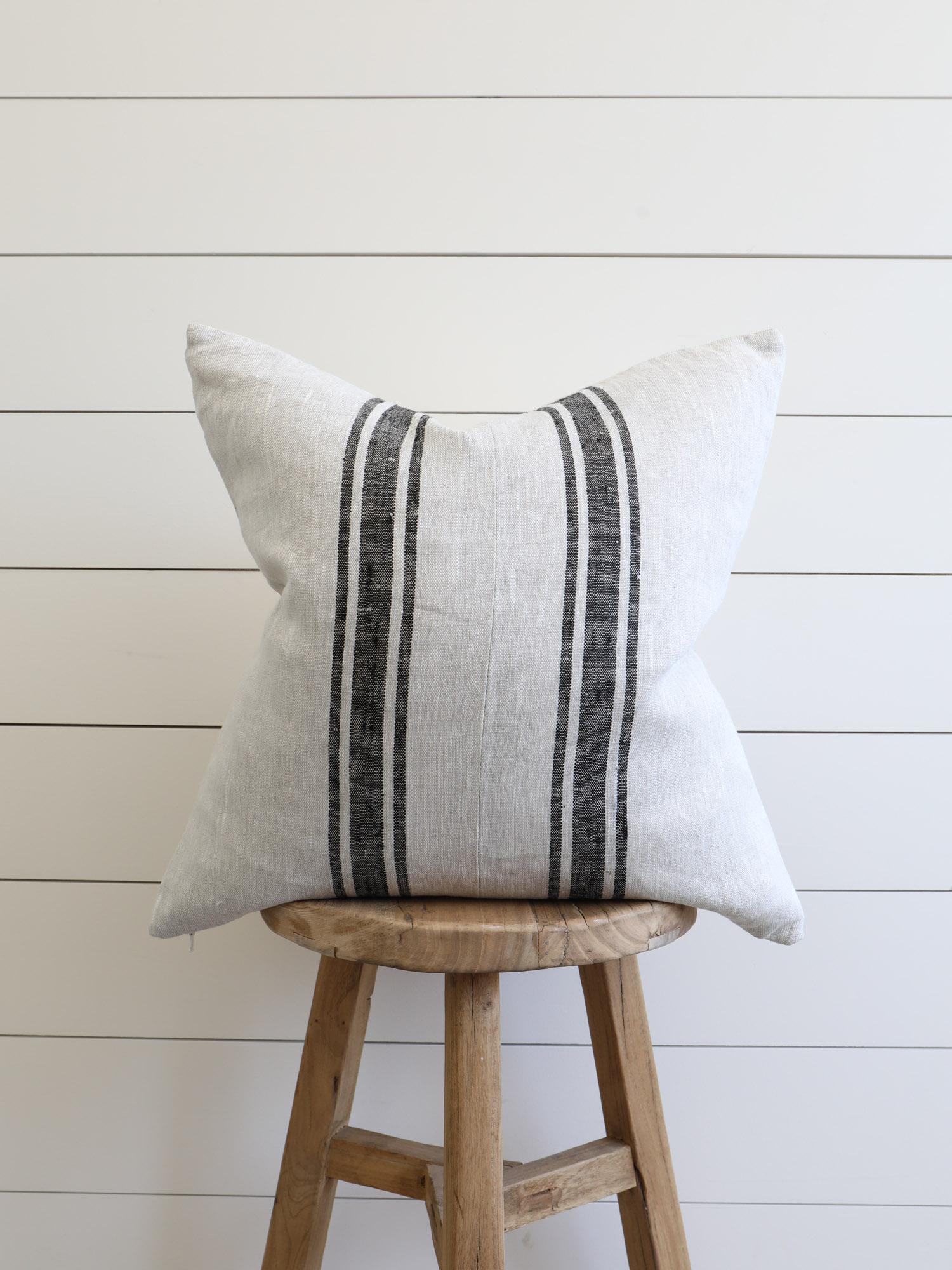 Belgian Linen Stripe Pillow from The Vintage Rug Shop