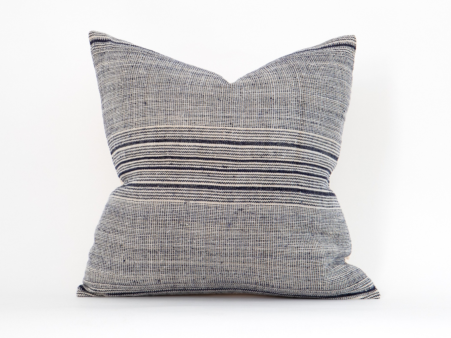 Navy Striped Hemp Pillow from The Vintage Rug Shop