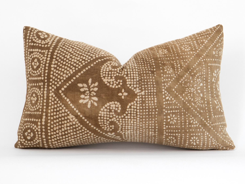 Brown Batik Lumbar Pillow from The Vintage Rug Shop