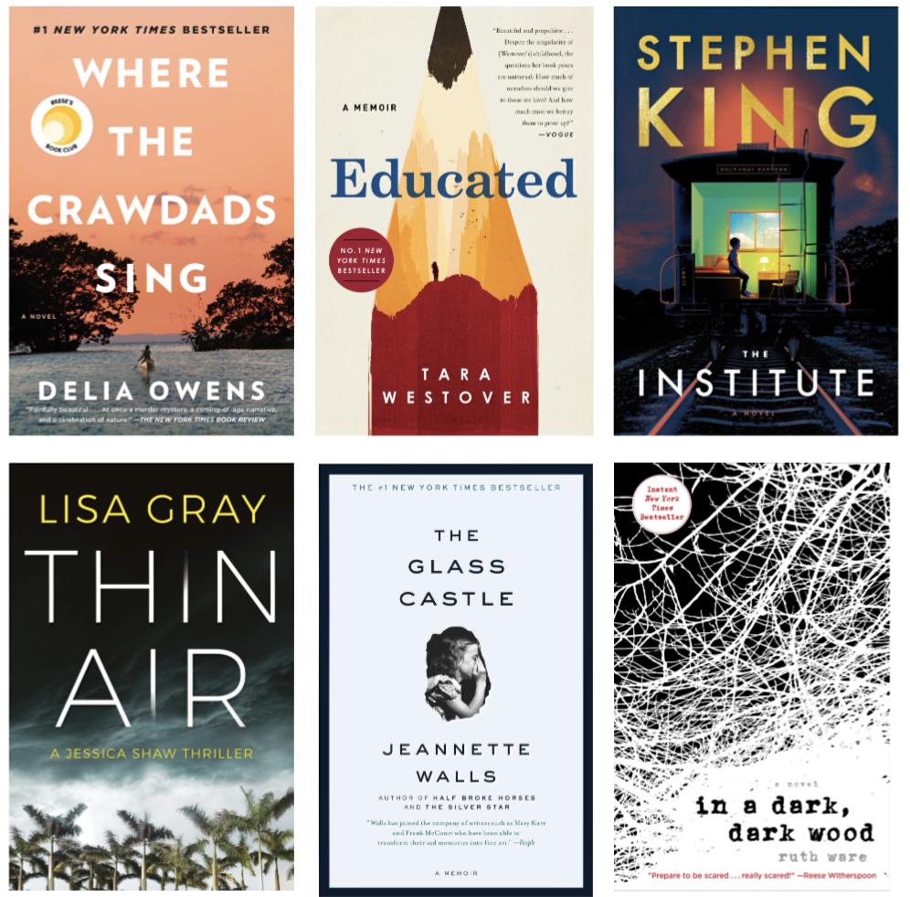 Fall 2019 Book Club: Where The Crawdads Sing, Educated: A Memoir, The Institute, Thin Air, The Glass Castle, In A Dark, Dark Wood