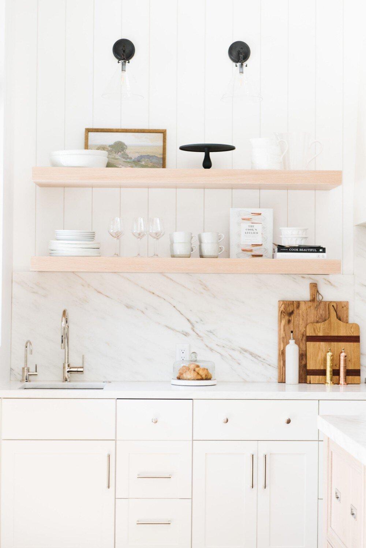 Studio McGee - Modern Lake House - Floating Kitchen Shelves