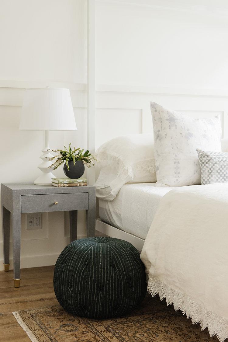 Studio McGee - Modern Lake House - Serene Bedroom Pouf