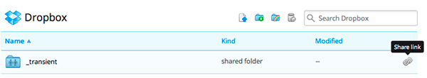 """Dropbox's web interface for """"Share link"""""""