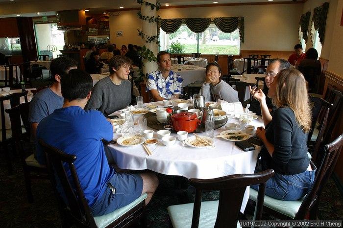 Jeff, Matt, Ben, Geoff, Livia, Ed, and Bonnie, at a Chinese restaurant in Irvine