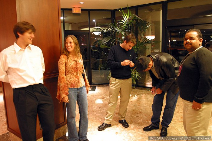 Ben, Bonnie, Andy, Jeff, and Pablo, in the lobby