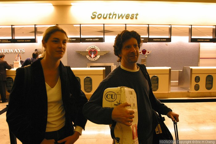 Claire and Barry. 6:22am. Bob, the tour manager, wanted us there almost three hours before our flight. We were there so early that no one was at the Southwest counter.