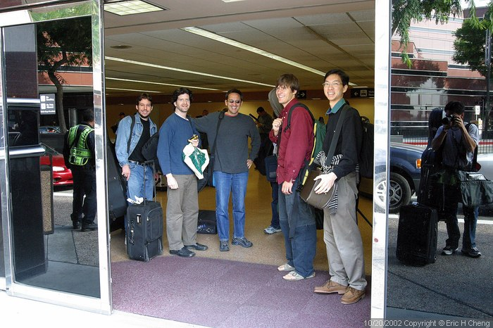Hector, Barry, Ozzie, Ben, Ben, and me (reflection), at the San Jose airport