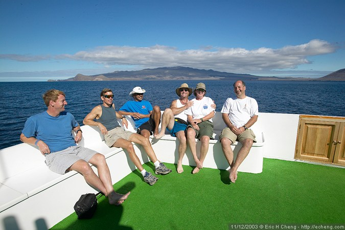 Mike, Jim, Nick, Brian, Annie, and Jacob, on the sun deck of the Deep Blue