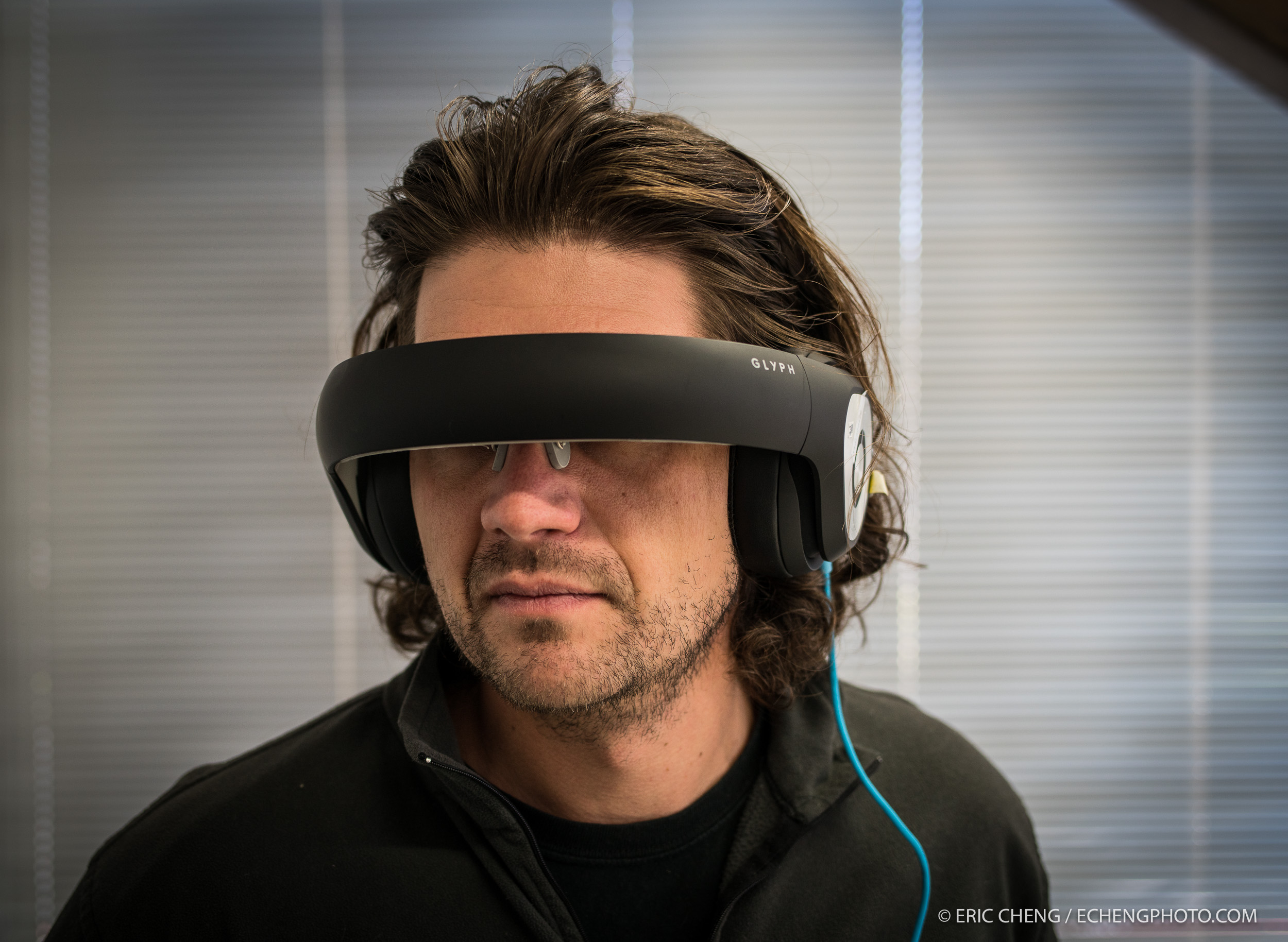 Avegant co-founder and CTO Dr. Allan Evans wearing a pre-production Glyph
