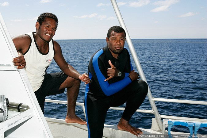 Our dive masters Iliesa and Seci