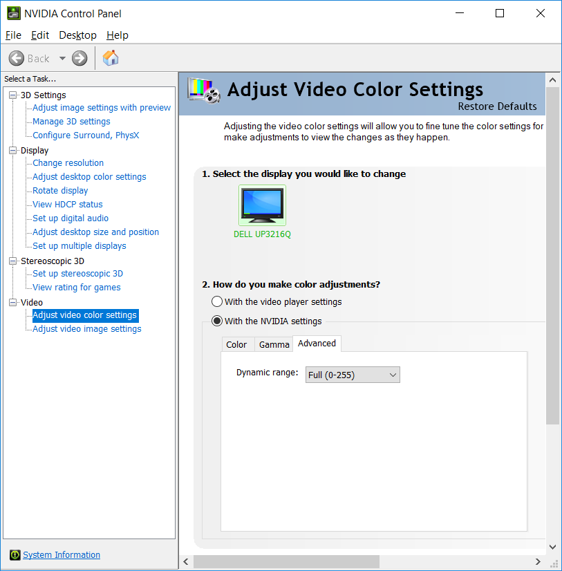 """Set """"Dynamic range"""" to """"Full (0-255)"""" in the Advanced tab in """"Adjust Video Color Settings"""" in the NVIDIA Control Panel (Control Panel->NVIDIA Control Panel)."""