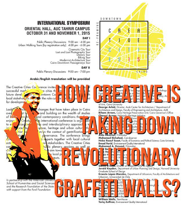 Graffitied conference poster. Image courtesy of El Taneen  .