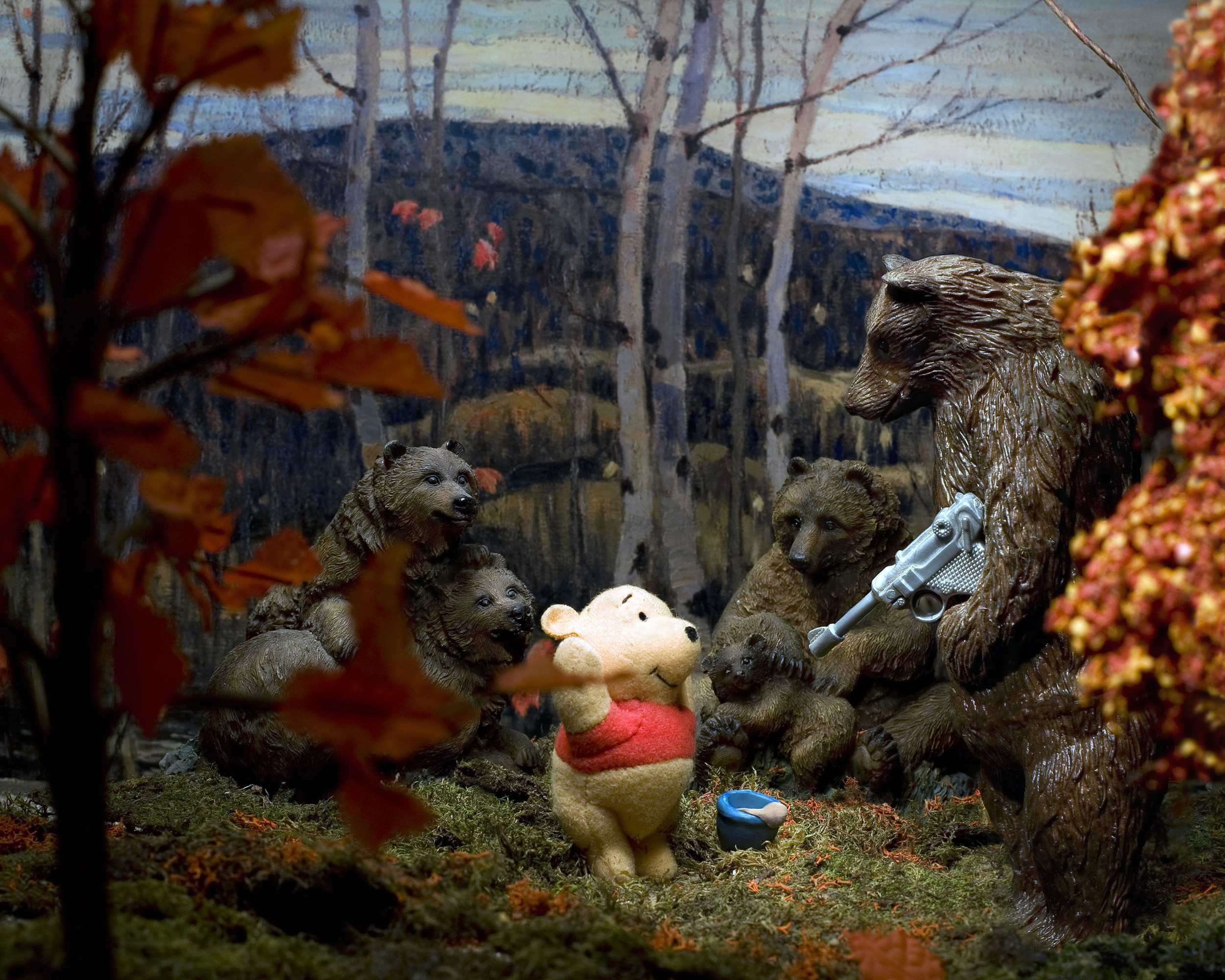 Group of Seven Awkward Moments (Maples and Birches with Winnie and the Pooh), digital photograph, 2009. Image courtesy of Diana Thorneycroft.
