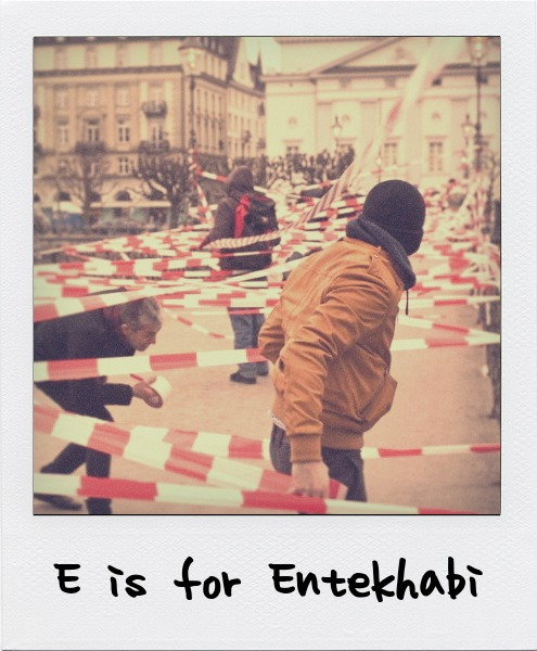 E is for Shahram Entekhabi, the Iranian-born video and installation artist who creates public installations that seek to question social communication and the ownership of public space.