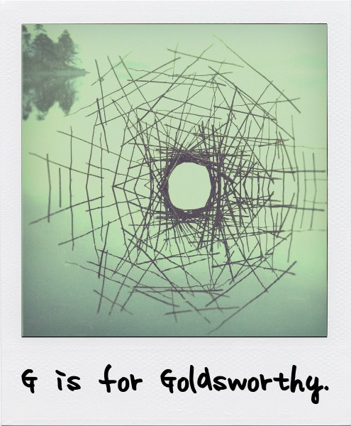 G is for Goldsworthy, the English-born, Scottish-based artist and environmentalist famous for his striking, delicate works created from natural materials. G is also for Dan Graham.