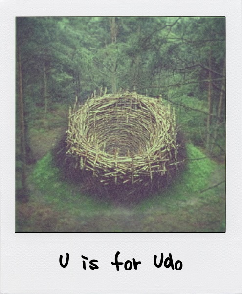 U is for Nils-Udo, the German artist famous for his constructed nest sculptures who places great importance on site-situated work inspired by the surrounding environment.