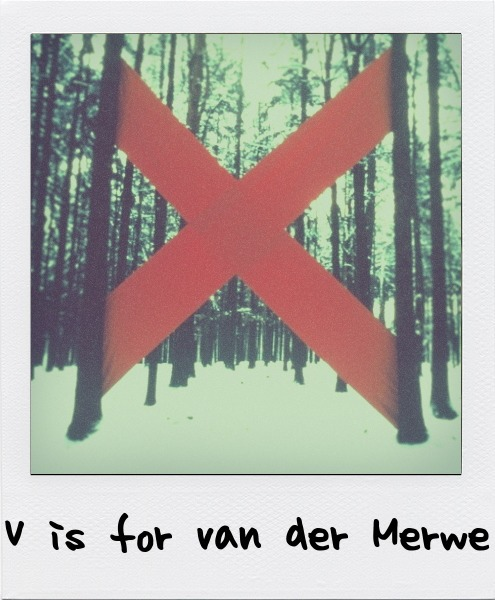 V is for Strijdom van der Merwe, the South African artist who uses materials found on site to create his work and is an active organiser in the land art community. V is also for Herman de Vries.