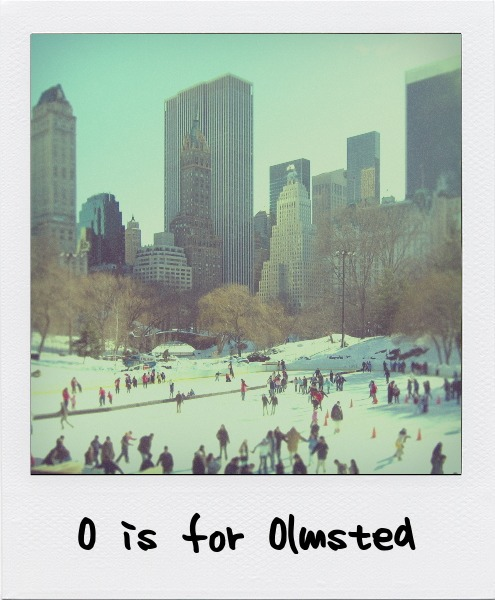 O is for Frederick Law Olmsted, landscape architect and designer of New York's central park.. O is also for Dennis Oppenheim.