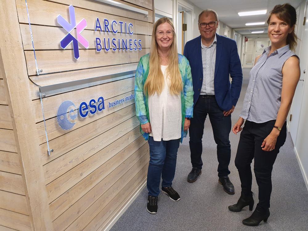 Arctic Business manages ESA BIC Sweden from Luleå. Kristina Öhman, Contract Officer, Jens Lundström, Managing Director, and Emma Hansson, Project Leader.
