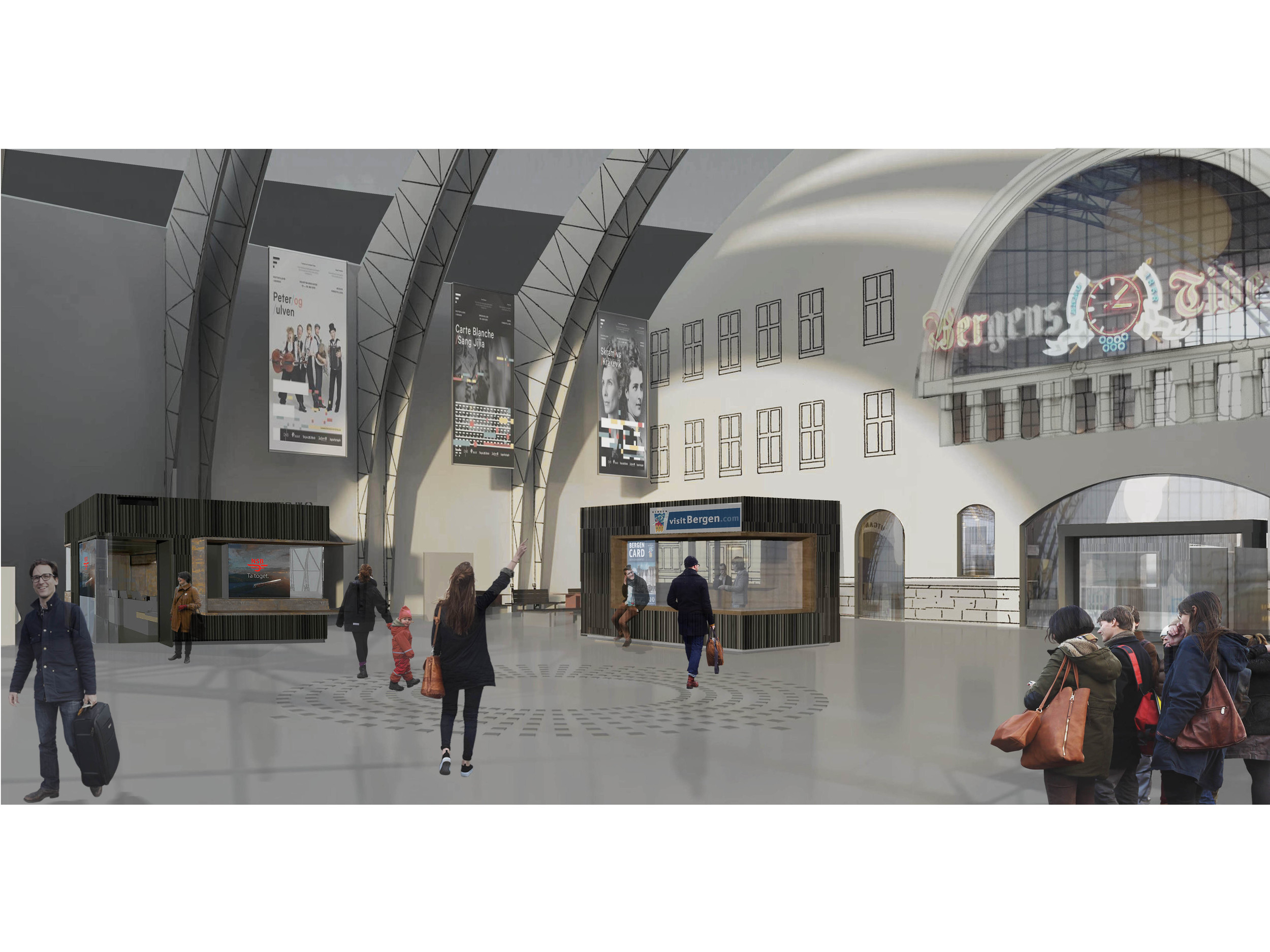 Perspektiv stasjonshall med nye kiosker