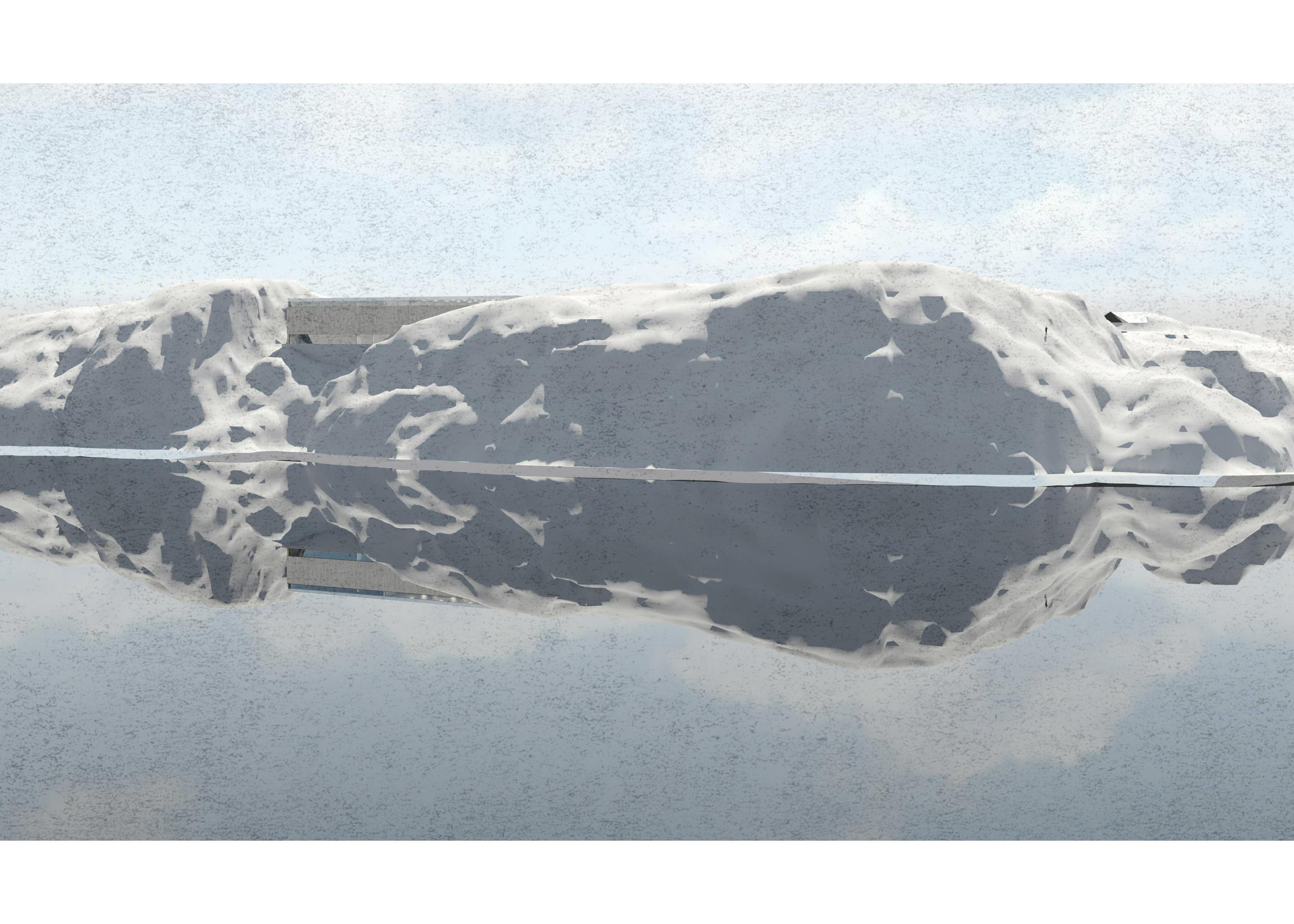 Perspektiv av helhetlig anlegg sett fra brua over Ulvsundet,