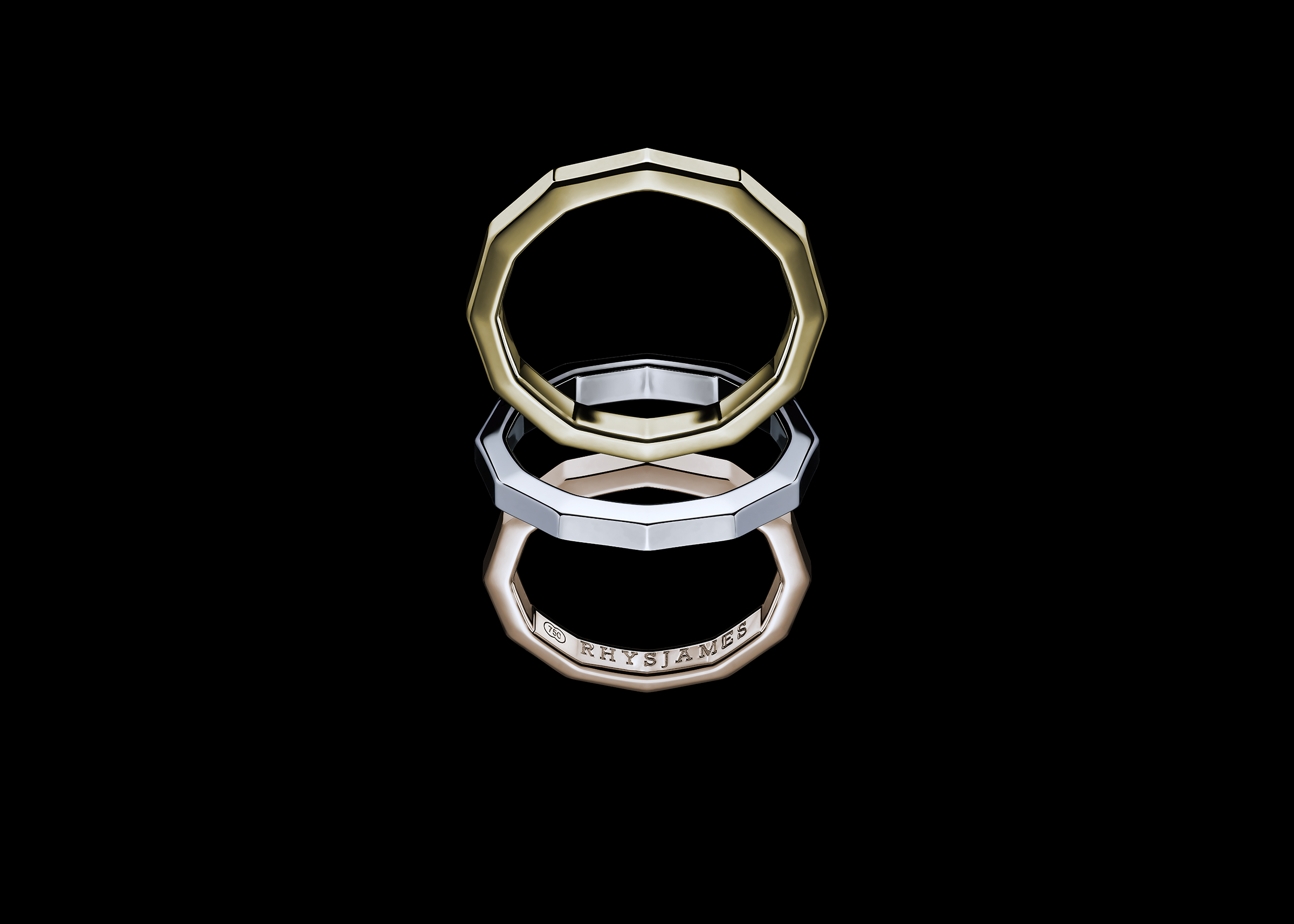 Voyager Rings in 18ct yellow, white and pink gold.