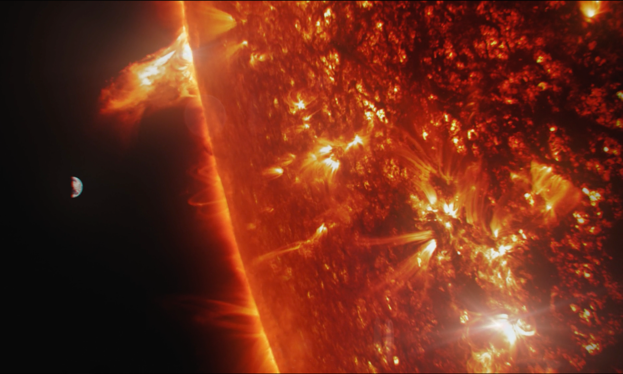 In a sequence  of shots revealing the Earth's core,Moonraker analysed detailed imagery of the sun as a starting point and then developed a look that felt unique and unfamiliar. Technically these challenges were overcome by using Houdini for complex simulations of fluids and motions which depicted the intense energy generated within the centre of the earth, a bit like a huge plasma dynamo.
