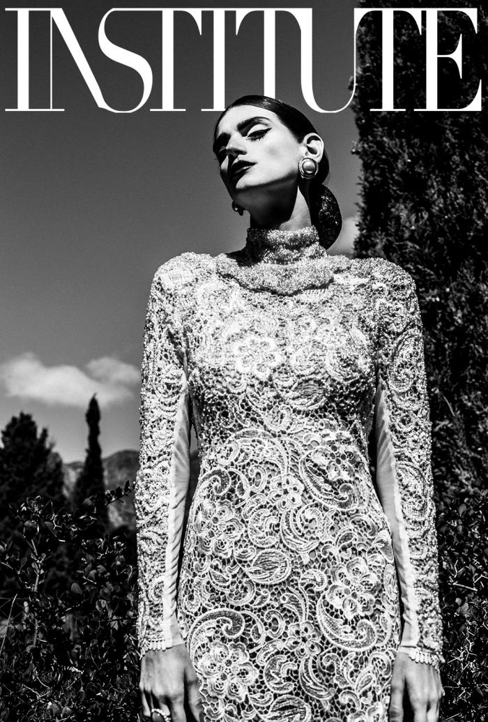 vogue fashion editorial black and white designer gown