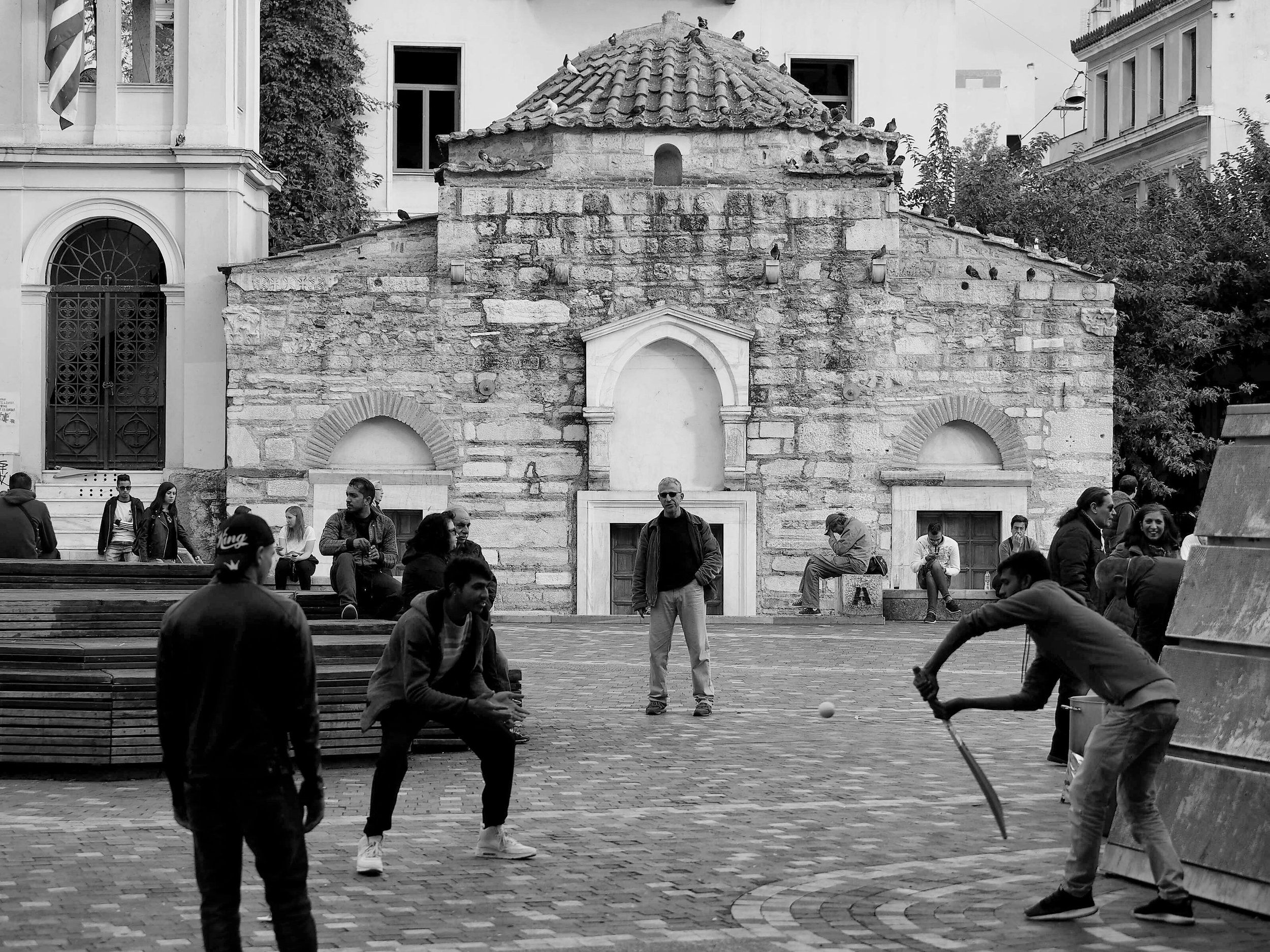 Street cricket, Monastiraki Square, Athens, November 2017.