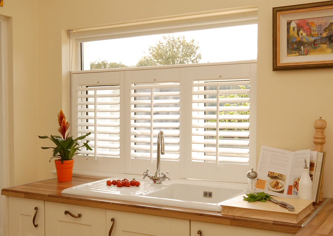 Café Style Plantation Shutters over a Kitchen Sink