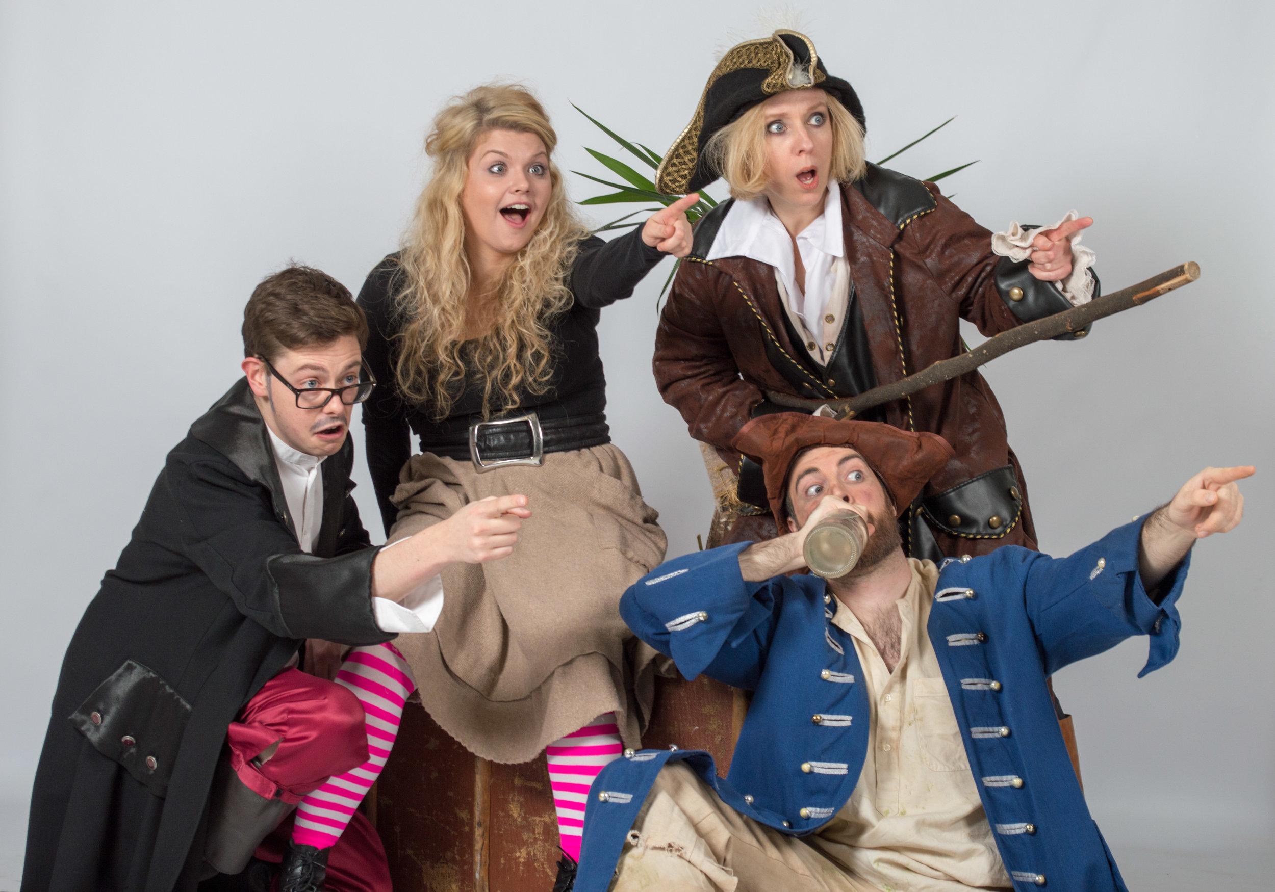 l-r 2 Adrian Banks as Dr Livesey, Jess Lloyd Jones as Jem Hawkins, Tom Dearsley as Bill Bones and Jenny Johns as Long Jane Silver.jpg
