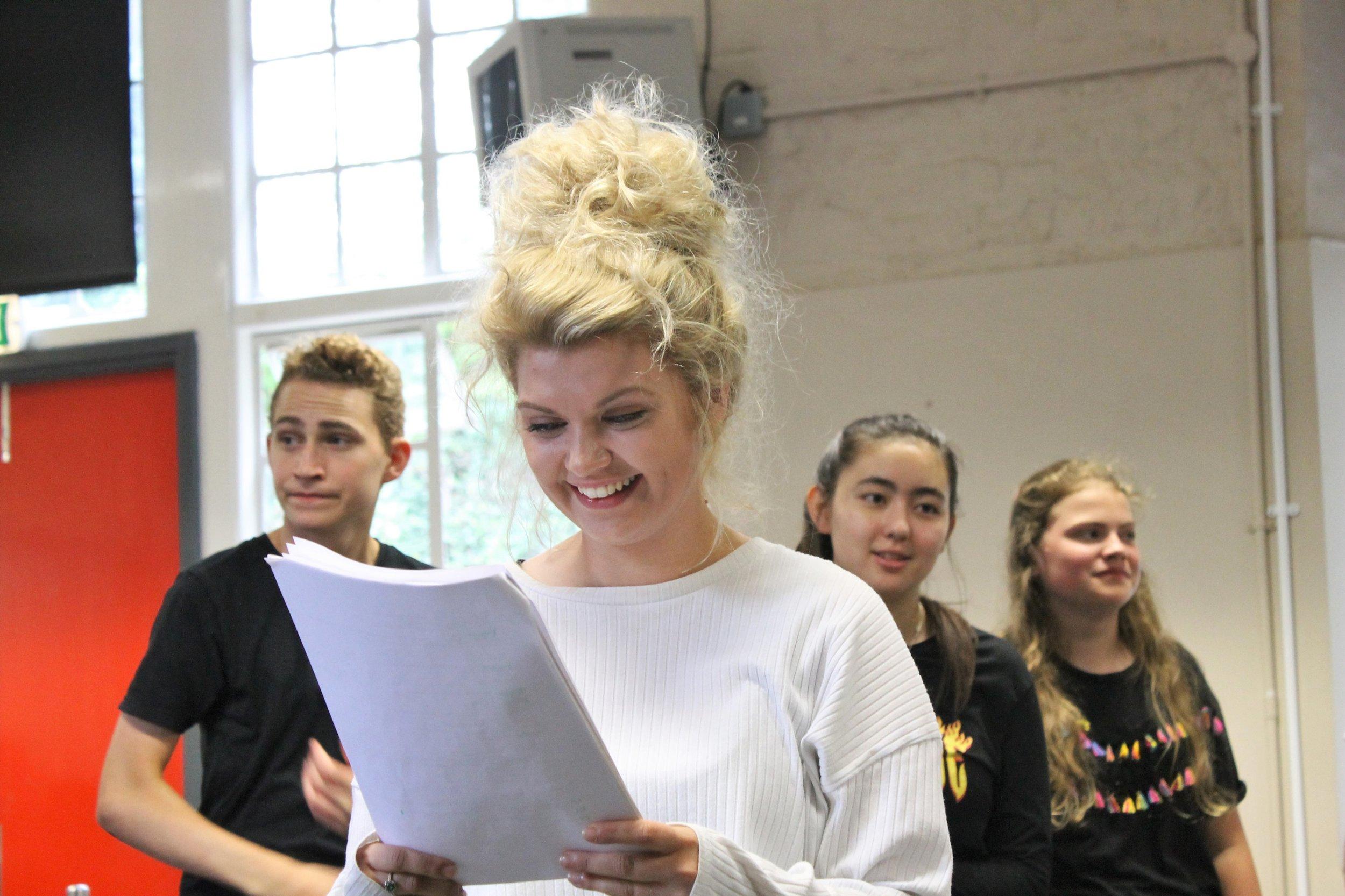 l-r Patrick Morgan, Jess Lloyd-Jones, Jasmine Faulkner, Jessica Morgan in rehearsals for MYTH.jpg