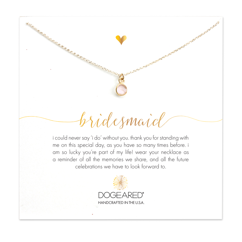 Bridesmaid Round Rose Quartz Necklace, Gold Dipped