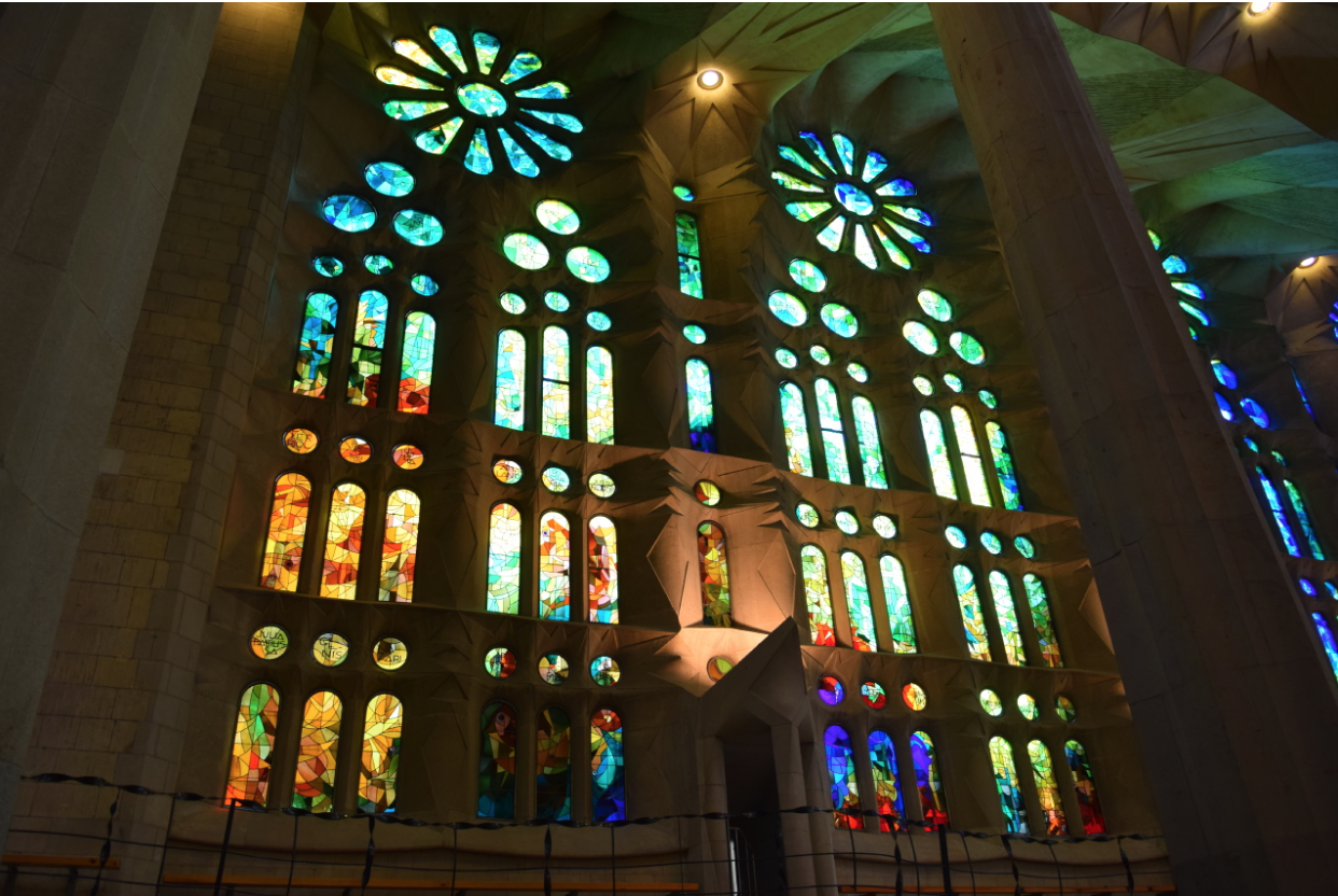 Stained glass of La Sagrada Familia in Barcelona, Spain.