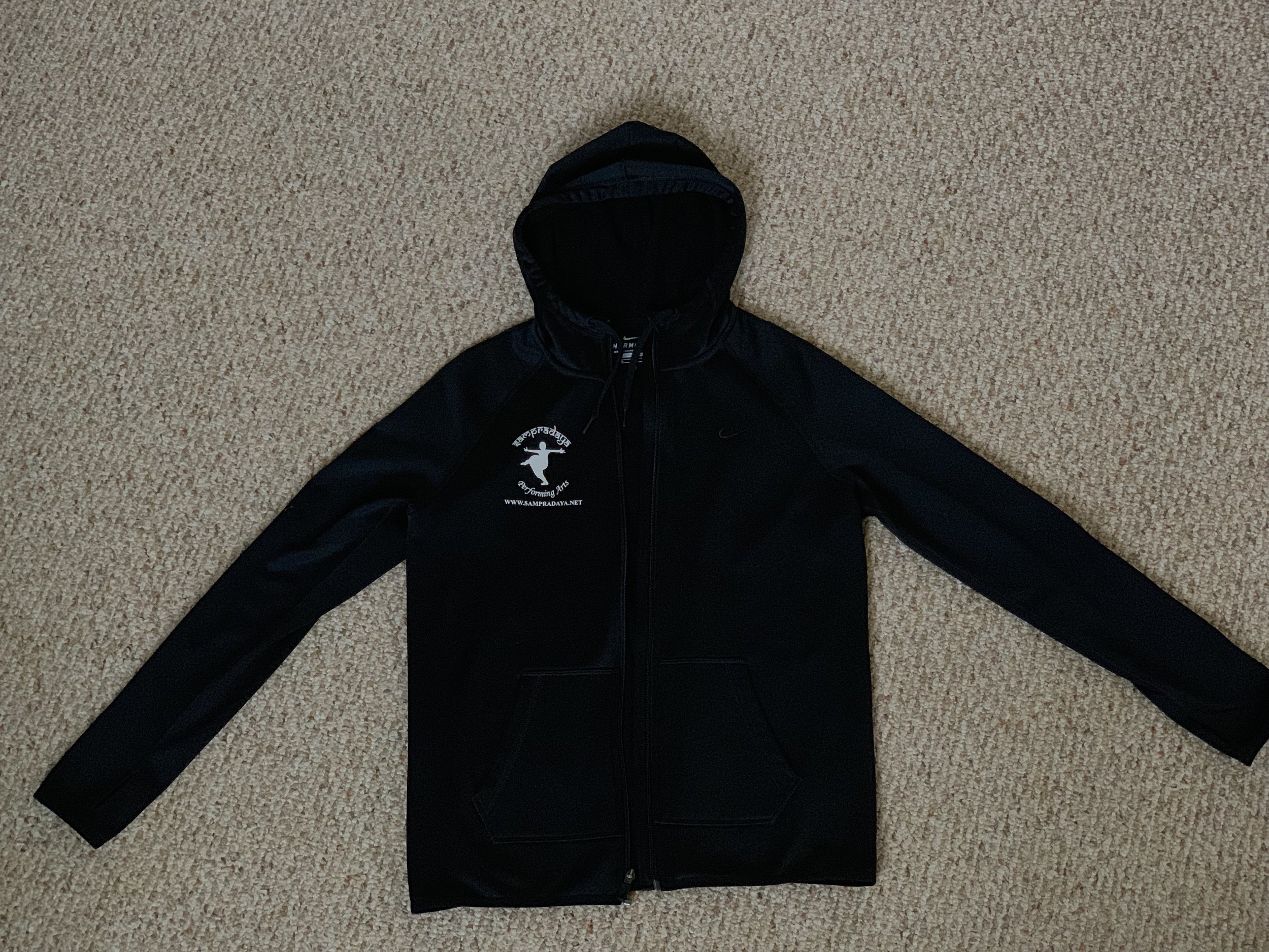 Black Nike Jacket with Sampradaya Logo