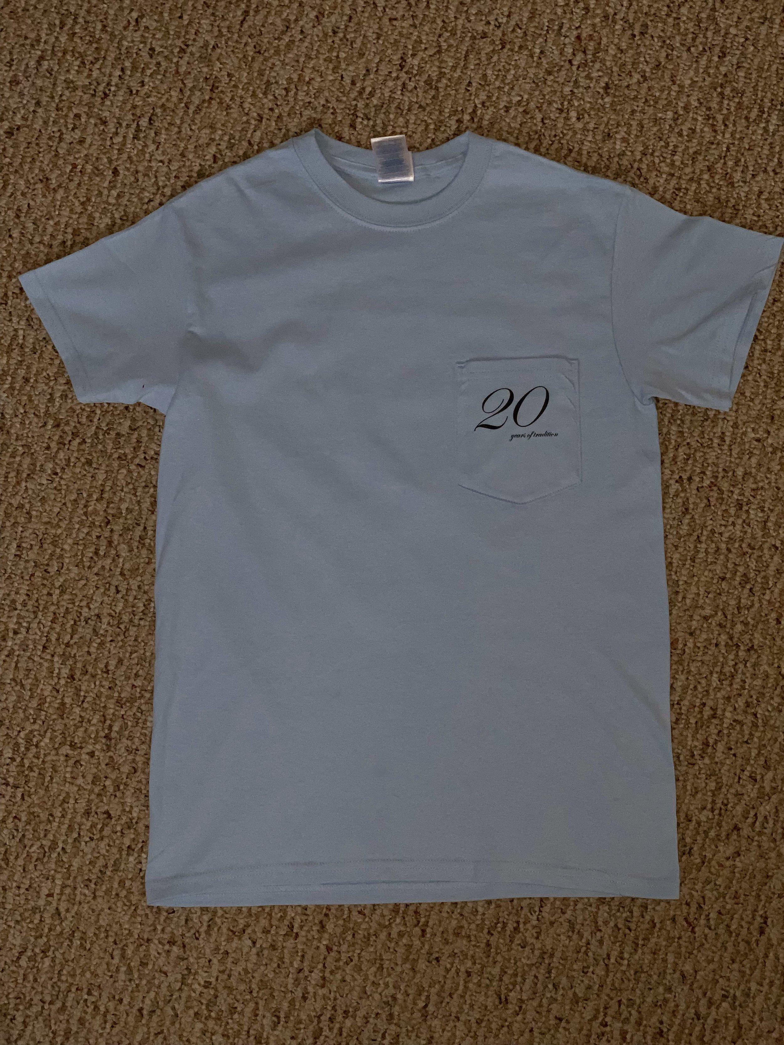 Sampradaya 20 years Shirt (Light Blue color) — FRONT