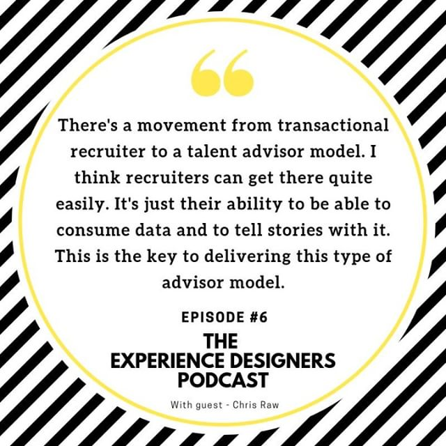Moving from transactional to talent advisor requires data and story telling skills.  Bringing market intel, talent data and trends to life when sharing with hiring managers.  Your ability to control and own the process, builds confidence and ensures the process is more realistic. Rather than 'ASAP'. A common phrase when hiring managers stipulate timeframes. 😬  Get inspired and learnings. Listen to the latest The Experience Designers podcast - LINK IN BIO 👆 . . . . #hr #humanresources #hrtransformation #futureofwork #experiencedesign #designthinking #employeeexperience #employeeexperiencedesign #talentmanagement #humanresourceslife #employeeexperiences #employeeexperience2019 #candidateexperience