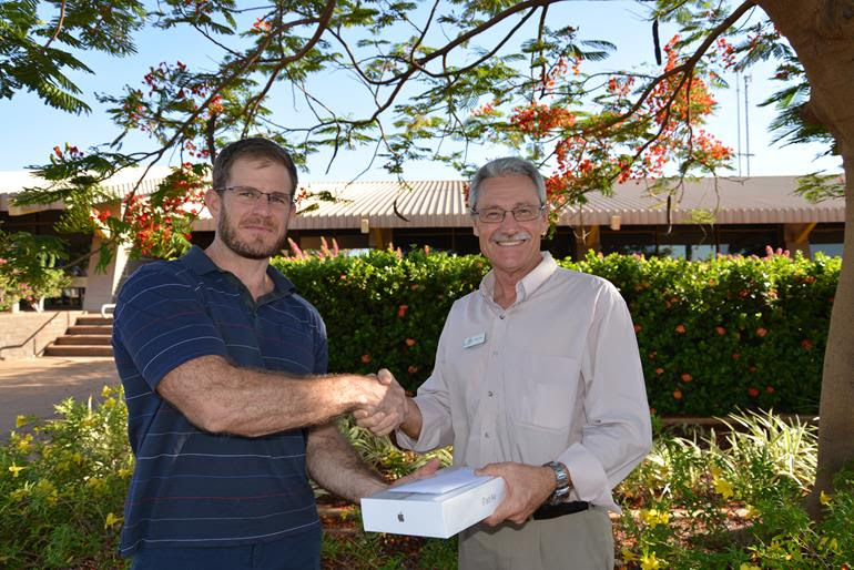 Simon Millward was the winner of the Community Safety Survey random prize draw presented by Mayor Peter Long.
