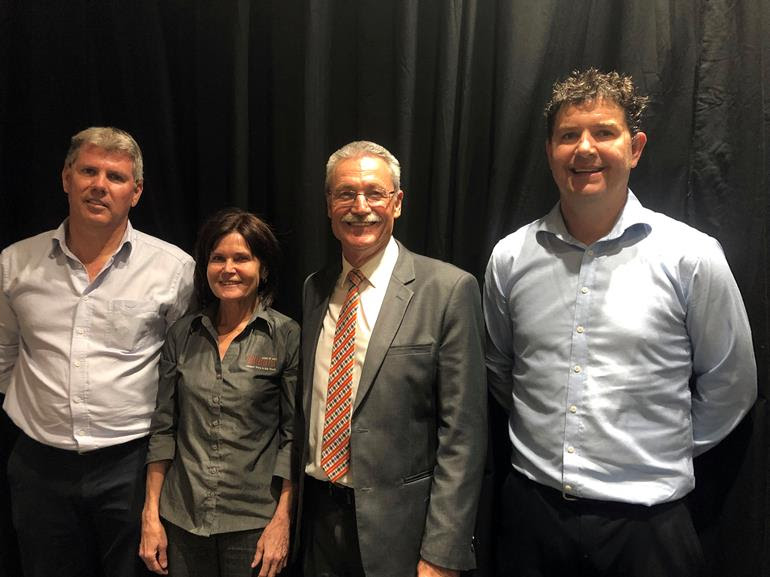 Left to right - Michael McConachy (Managing Director, Aviair), Cr Anita Grace (Shire of East Pilbara Deputy President), Cr Peter Long (City of Karratha Mayor) and Shaun Pikor (Rio Tinto manager Rolling Stock Maintenance, Rail)
