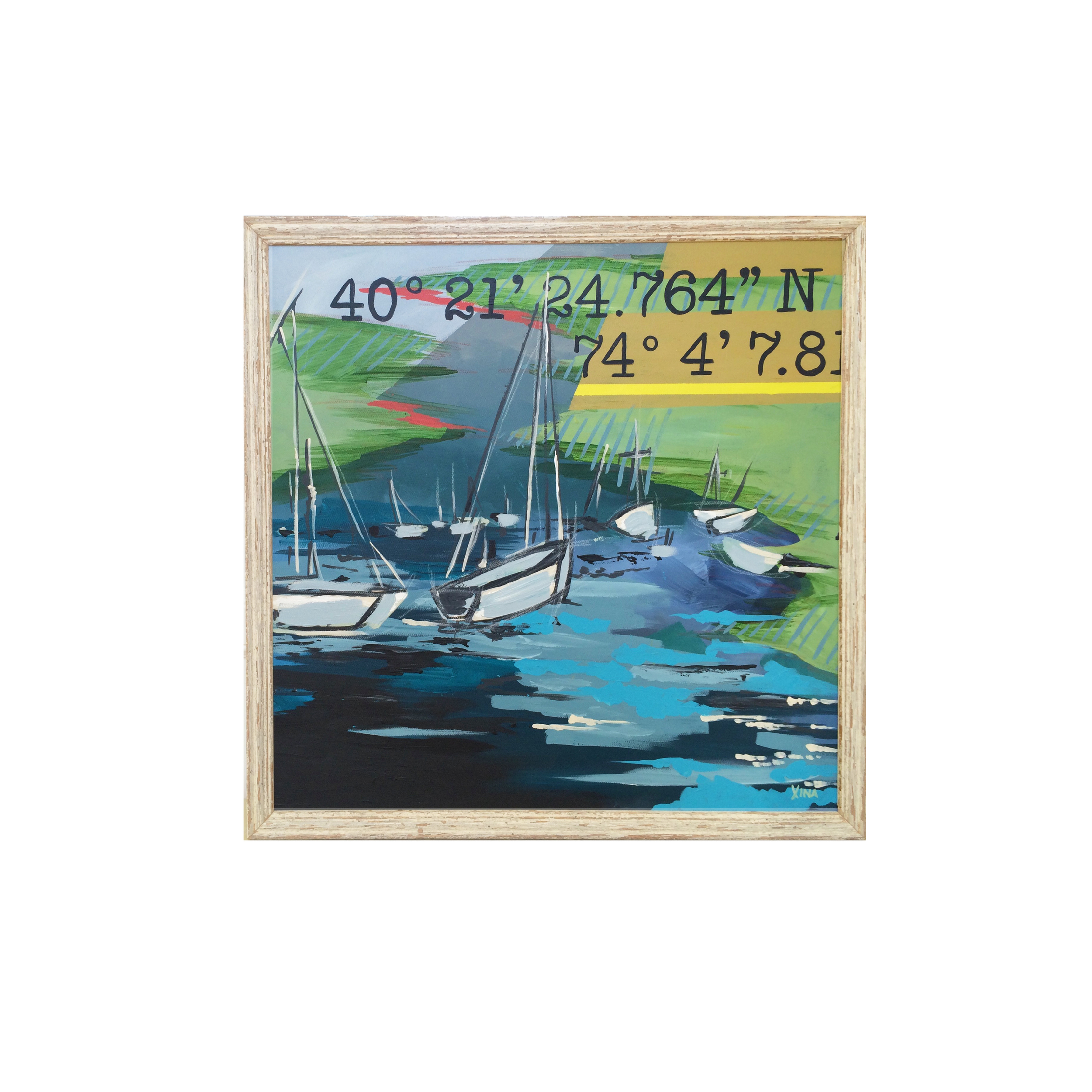 WADE  This bright and beautiful piece features a fleet of sailboats safely resting at dawn, the Navesink coastline and its nautical coordinates. Custom Larson Juhl frame made of 100% distressed wood | 26 x 26