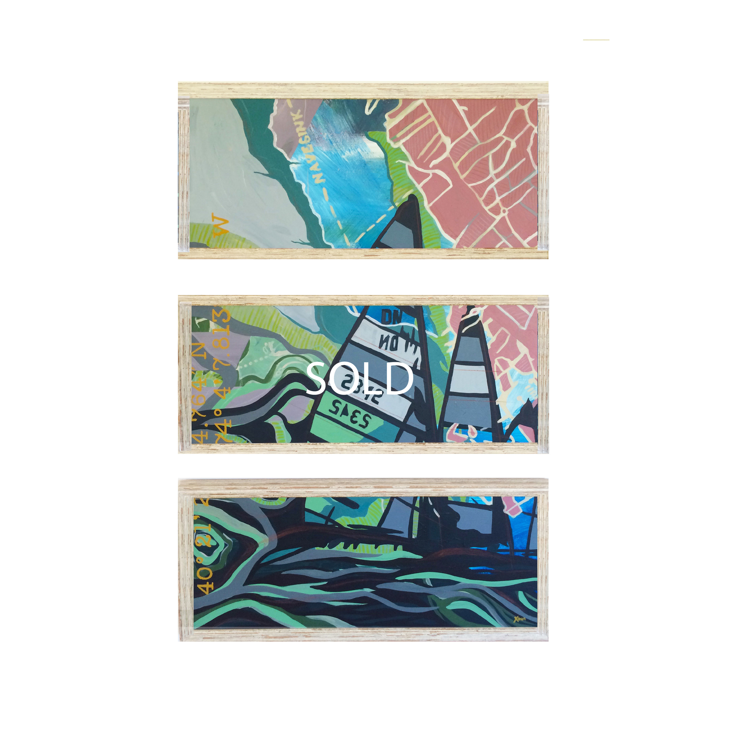 HOME   This is one of the most unique pieces in the collection. A triptych piece featuring vibrant colors running through the sailboats, high seas and the Navesink River. The background is filled with layers of nautical coordinates and topographic maps of Monmouth County. Custom Larson Juhl frame made of 100% distressed wood   |   3 frames 14 x 32 | Hangs at 14 x 45