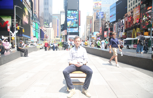 Dan Harris meditating in Time Square. (Kind of ridiculous we know, but yes, you can practice pretty much anywhere)